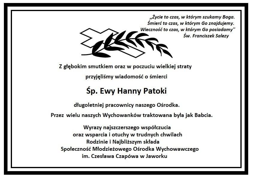 Informacja o śmierci śp. Ewa Hanny Patoki